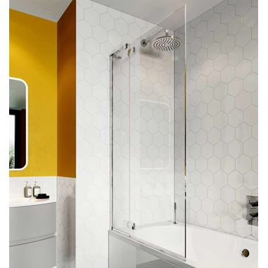 Crosswater Svelte 8mm Easy Clean Single Bath Screen - 1500 x 900mm