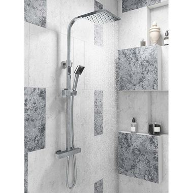 Andrew Exposed Dual Outlet Rigid Riser Thermostatic Shower Set