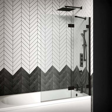 Aquadart Venturi 8 Matt Black Hinged Bath Screen - 1500 x 1000mm