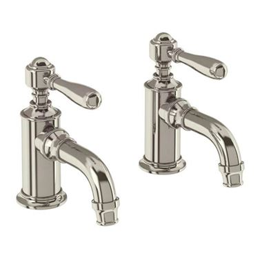 Arcade Nickel Basin Pillar Taps with Levers