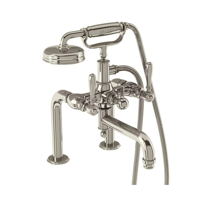 Arcade Nickel Deck Mounted Bath Shower Mixer Tap with Levers