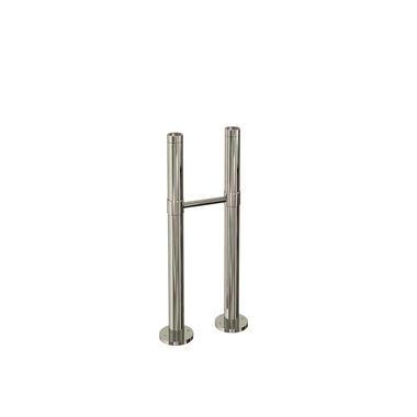 Arcade Nickel Floor Mounted Exposed Water Pipes with Support Bar