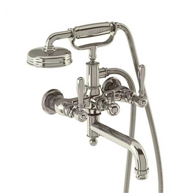 Arcade Nickel Wall Mounted Bath Shower Mixer Tap with Levers