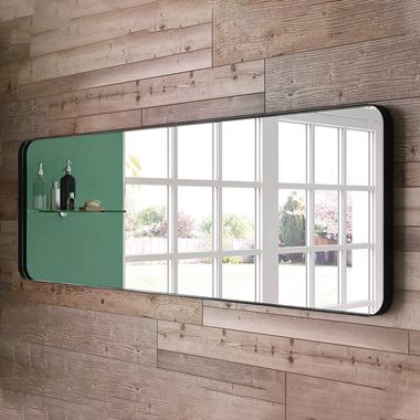 Bathroom Origins City Mirror 1500 x 500mm - Black