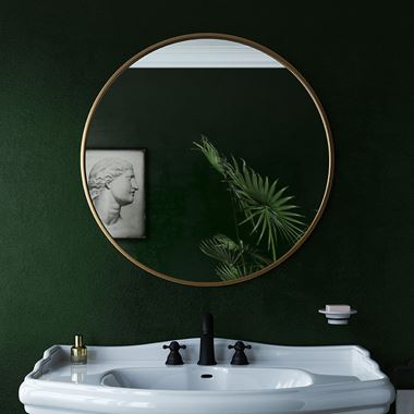Bathroom Origins Docklands Round Mirror 800mm - Brushed Brass