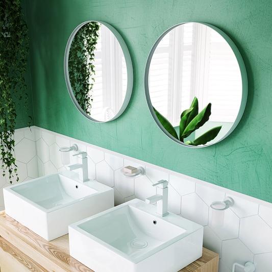 Bathroom Origins City Round Mirror 600mm White Drench