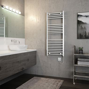 Brenton Apollo Electric Straight Heated Towel Rail - 22mm - 1200 x 500mm - Thermostatic Element