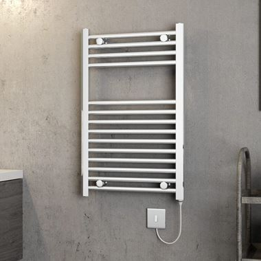 Brenton Apollo Electric Straight Chrome Heated Towel Rail - 22mm - 800 x 500mm