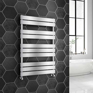 Brenton Avezzano Chrome Flat Panel Heated Towel Rail - 1000 x 600mm