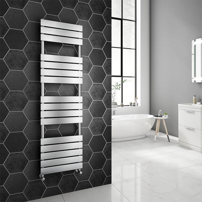 Brenton Avezzano Chrome Flat Panel Heated Towel Rail - 1600 x 450mm