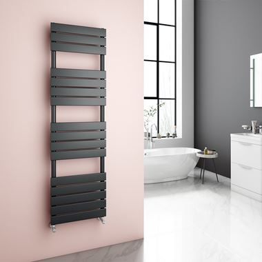 Brenton Avezzano Anthracite Flat Panel Heated Towel Rail - 1600 x 450mm