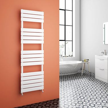 Brenton Avezzano White Flat Panel Heated Towel Rail - 1600 x 450mm