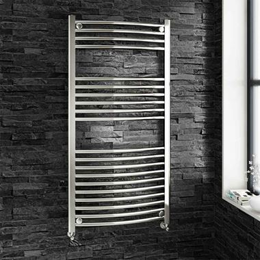 Brenton Chrome Curved Heated Towel Rail Radiator