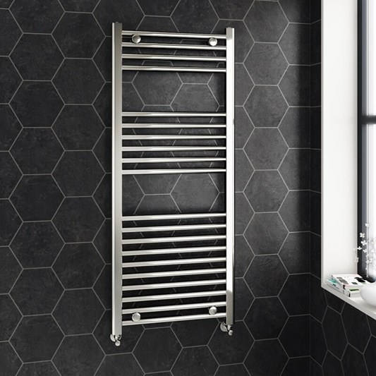 Brenton Chrome Straight Heated Towel 22mm Rail Radiator