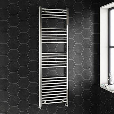 Brenton Chrome Straight Heated Towel Radiator - 22mm - H1600 x W500mm