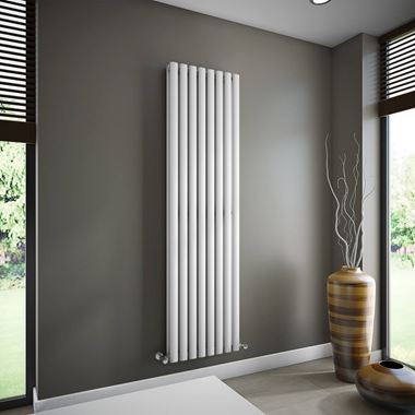Brenton Oval Double Panel Vertical Radiator - White - 1800 x 480mm