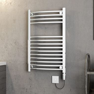 Brenton Apollo Electric Curved Chrome Heated Towel Rail - 22mm - 800 x 500mm