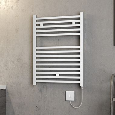 Brenton Helios Electric Straight Square Chrome Heated Towel Rail - 20mm - 690 x 500mm