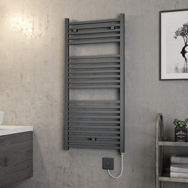 Brenton Helios Electric Straight Square Anthracite Heated Towel Rail - 20mm - 1110 x 500mm