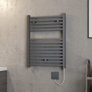 Brenton Helios Electric Straight Square Anthracite Heated Towel Rail - 20mm - 690 x 500mm
