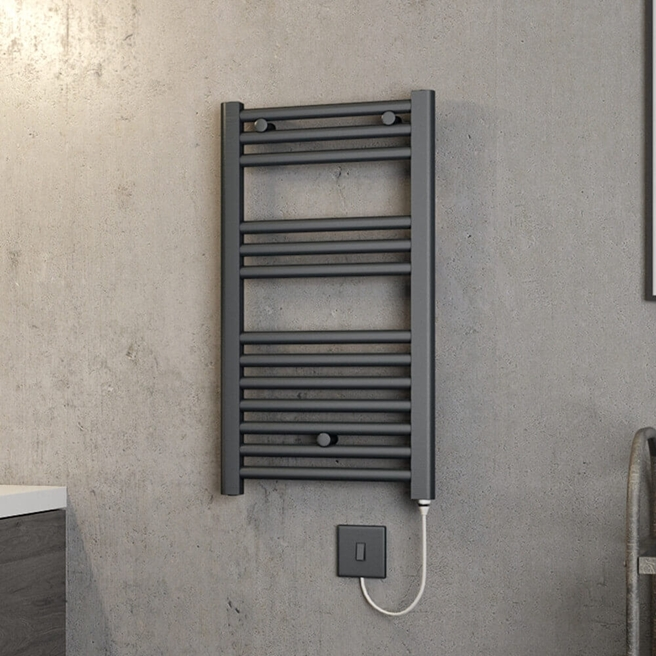 Brenton Hestia Electric Straight Anthracite Heated Towel Rail - 22mm - 720 x 400mm