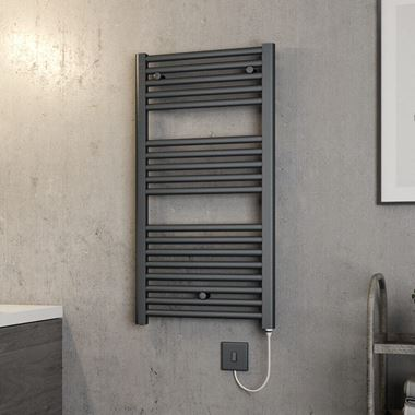 Brenton Hestia Electric Straight Anthracite Heated Towel Rail - 22mm - 920 x 480mm