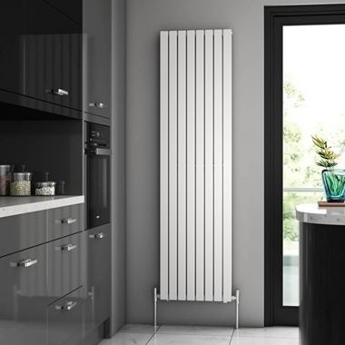 Brenton Flat White Double Panel Vertical Radiator - 1800 x 480mm