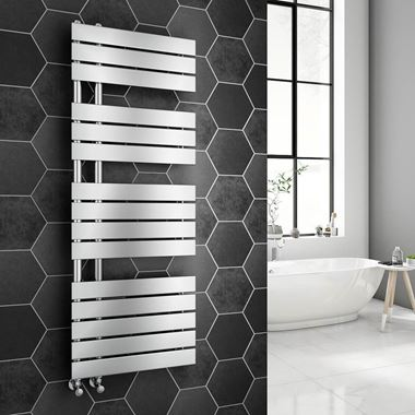 Brenton Fontana Chrome Flat Panel Offset Heated Towel Rail - 1380 x 500mm
