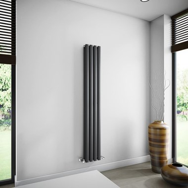 Brenton Oval Double Panel Vertical Radiator - 236 x 1500mm