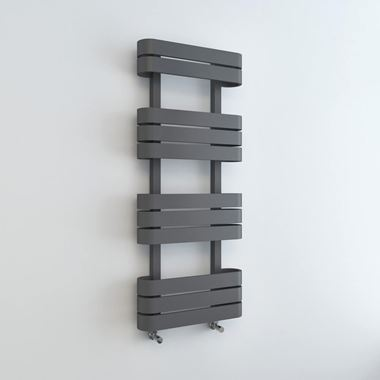 Brenton Grey Flat Panel Heated Towel Rail - 1200 x 500mm