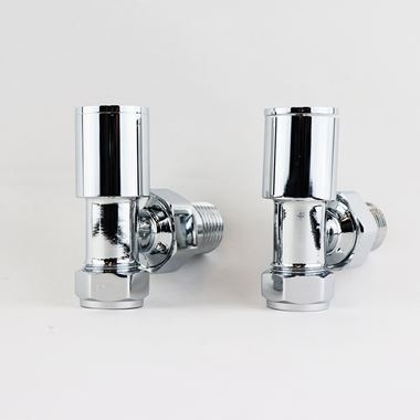 Brenton Chrome Round Angled Radiator Valves - Chrome