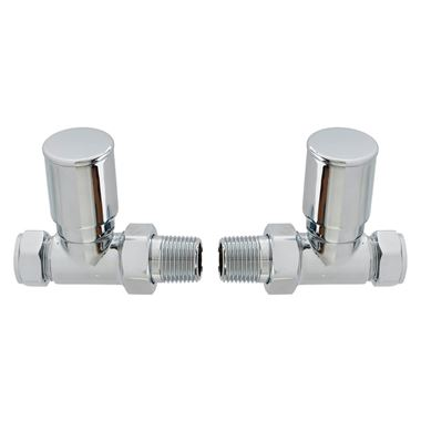 Brenton Chrome Round Straight Radiator Valves - Chrome