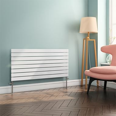 Brenton Ruby Flat Panel Horizontal Designer Radiator - White - H550 x W1200mm