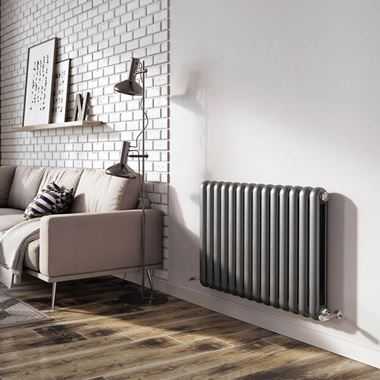 Brenton Saturnia Anthracite Horizontal Column Radiator - 600 x 865mm