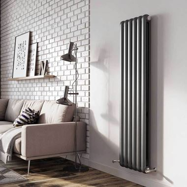 Brenton Saturnia Anthracite Vertical Column Radiator - 1500 x 384mm