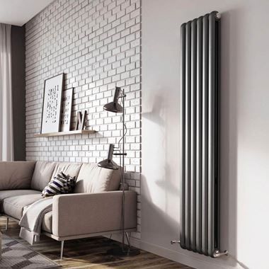 Brenton Saturnia Anthracite Vertical Column Radiator - 1800 x 384mm