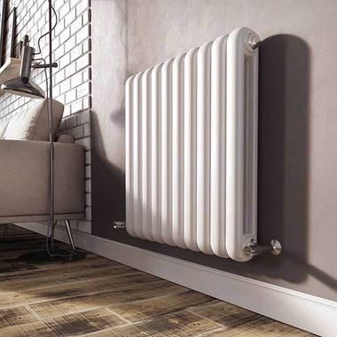 Brenton Saturnia White Horizontal Column Radiator - 600 x 625mm