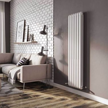 Brenton Saturnia White Vertical Column Radiator - 1500 x 384mm