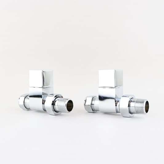Brenton Straight Square Head Modern Radiator Valves - Chrome