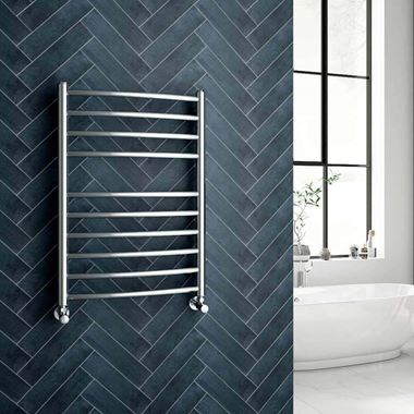 Brenton Fornax Polished Stainless Steel Curved Heated Towel Rail Radiator