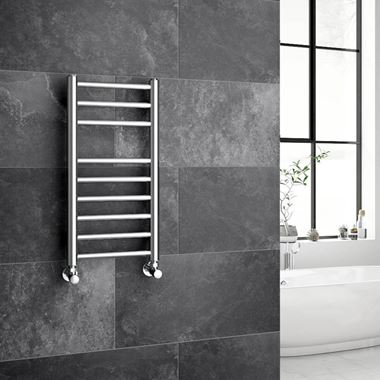 Brenton Vesta Polished Stainless Steel Round Heated Towel Rail Radiator - 600 x 300mm