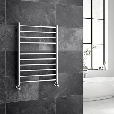 Brenton Vesta Polished Stainless Steel Round Heated Towel Rail Radiator