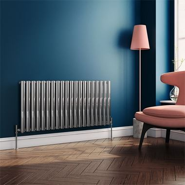 Brenton Steel Horizontal Oval Tube Designer Radiator - Chrome - H550 x W1180mm