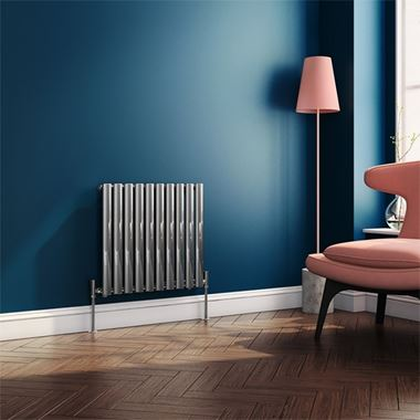 Brenton Steel Horizontal Oval Tube Designer Radiator - Chrome - H550 x W590mm
