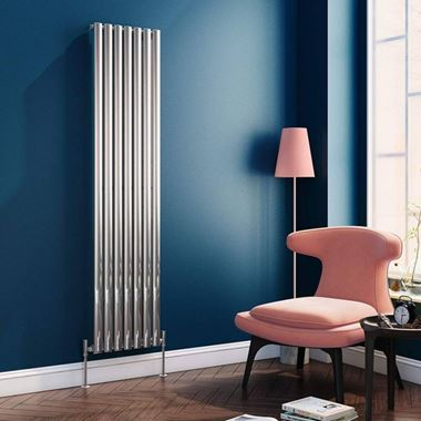 Brenton Steel Vertical Oval Tube Designer Radiator - Chrome - H1800 x W413mm