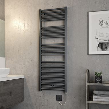 Brenton Hestia Electric Straight Anthracite Heated Towel Rail - 22mm - 1375 x 480mm