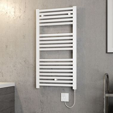 Brenton Hestia Electric Straight White Heated Towel Rail - 22mm - 920 x 480mm