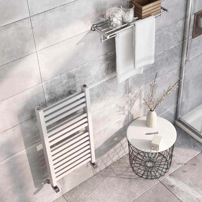 Brenton Pagosa White Heated Towel Rail - Double Layer Design - 800 x 400mm