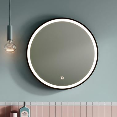 Britton Bathrooms Hoxton Matt Black Frame LED Illuminated Mirror with Demister Pad - 600mm