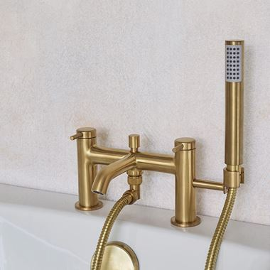 Britton Bathrooms Hoxton Bath Shower Mixer Tap - Brushed Brass